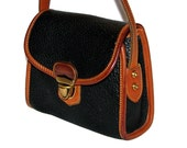 Vintage 80s 90s DOONEY & BOURKE Small Black Pebbled Leather Shoulder Bag w/ Tan Trim