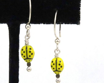 Ladybug Earring - Retro Beetle Bug - Minimalist Yellow Bug Dangle - Retro Ladybug Drops - Czech Glass Insect Bead - Yellow Beetle Earring