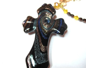 Glitter Cross & Crystal Rear View mirror Charm, Free Shipping, Brown and Gold cross, sparkling cross, Big cross, Gold, blue, brown