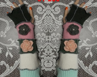 Arm warmers, Fingerless, elf coat, Gloves, women, patchwork, Upcycled, Cosplay, Gift, mittens, knit, size L, size XL