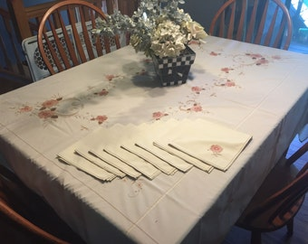 Vintage Ivory Kitchen Tablecloth with an embroidered floral design throughout with 8 napkins for kitchen, dining housewares by MarlenesAttic