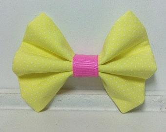 Set of 2 Girls hair bow baby Hair Bow girl hair bow toddler hair bow yellow hair bow Classic Baby Bow