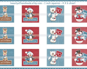 INSTANT DOWNLOAD Snowman 4X6 Glass Tile Images digital collage sheet for glass tiles pendants inchies 1 inch square