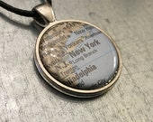 NYC Necklace, New York Pendant, Holiday Gift, Map Necklace, Map Jewelry, Holiday Gift