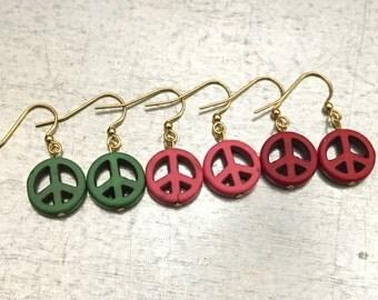Peace Earrings, Love Peace Hope Earrings, Stone Earrings, Gift For Her, Peace Charm