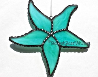 Stained Glass STARFISH Suncatcher, Wispy Aqua, Turquoise, Green, with White; Decorative Soldering, Handmade Original, Aqua Starfish, SeaStar