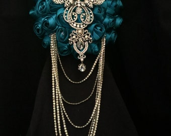 Diamante crystal Rhinestone drape bridal bouquet  - Fully personalised in many colours