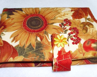 Fall theme, autumn, sunflowers, pumpkins, paperback book cover with bookmark, book purse, cloth cover, reading accessory, brown gold