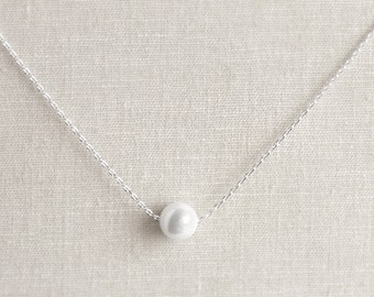 Single Pearl Necklace - Bridesmaid Gifts - White Pearls - Bridal Jewelry - Simple Pearl Necklace - Pearl Jewelry, Bridesmaid Necklace