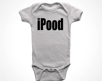 iPood one piece baby t-shirt infant humor newborn bodysuits gift funny snapsuit boys girls 6 month 12 month 18 24 2t 3t 4t 5t white tshirt
