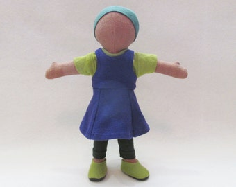 """Little doll dress outfit, up-cycled natural doll clothes, natural hand made doll outfit, cotton doll dress outfit for soft cloth 11"""" doll"""