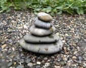 Natural Beach Stone Stack 5 Ocean Rocks Zen Stones Ringed Sea Rock Zen Garden Sculpture Fountain Yoga Meditation Gift Rock Art Balance Peace