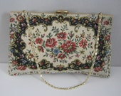 Vintage French Tapestry Handbag Purse Jewel Porcelain Courting Couple Clasp, Floral Pattern Gold Chain