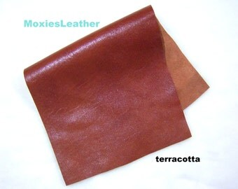 Terracotta reddish brown leather genuine leather piece soft leather