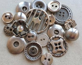 vintage and recycled silver tone metal buttons//modern abstract minimalist--mixed lot of 18