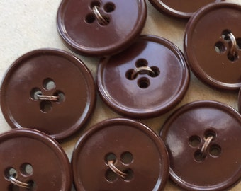 simple basic non decorative nos vintage chocolate brown buttons for sewing and crafting--matching lot of 10