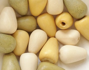 salvaged soft yellow, sage green, and cream wooden teardrop beads--mixed lot of 18