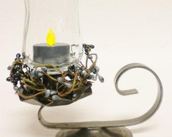 Hurricane Tea Light Candle Lamp, Vintage Metal Candle Holder, Primitive Country Lighting