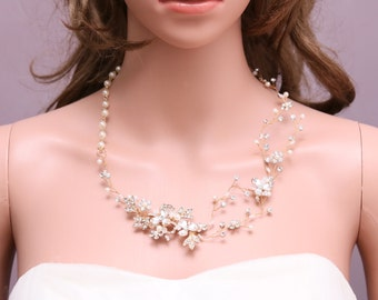 Ivory Faux Pearl Gold Tone Rhinestone Necklace, Vintage Victorian Style Flower Necklace, Vintage Wedding Bridal Necklace Jewelry