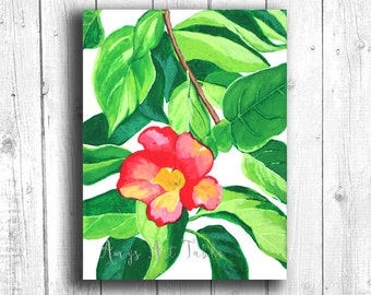 Red Hibiscus Painting, Digital download, Printable original art, Digital 8x10 art printable