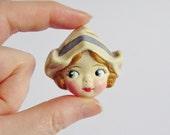 Dutch Girl Doll Brooch Lysbet - Antique Googly Pin