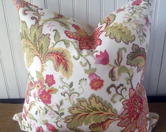 SALE - Decorative Pillow - 16 x 16 Zippered Pillow Cover - Designer Pillow -  Floral Pillow - Decorative Pillow - Accent Pillow