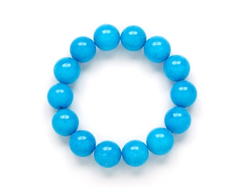 Chunky Blue Beaded Bracelet by Kluster Shop. Riviera Blue Bracelet. Blue Jade Gemstone Stretch Bracelet.
