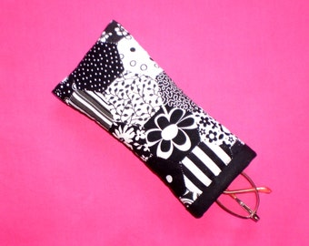Patchwork Spectacle Case/Pouch -  Handstitched Hexagons in Black & White Cotton Fabric