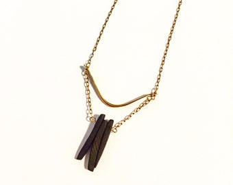 The Zen Black Spike Necklace, long eclectic necklace