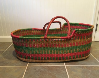Handwoven Baby Moses Basket Bassinet with custom pad and organic sheet
