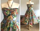 Reserved - 50's HAWAIIAN NOVELTY PRINT Dress - Kamehameha Garmet Co // Eugene Savage Print // Miss Hawaii // Waikiki // Collectible // Rare