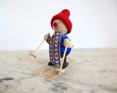 Large Sweden Wood Skier Christmas Nisse Tomte Swedish Figure Folk Art