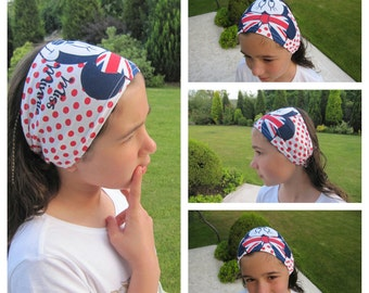 Miss Minnie mouse head band bandana for girls - Childs hair accessories headbands Age 2 4 6 8 10 12 yrs - summer holiday beach girls wear