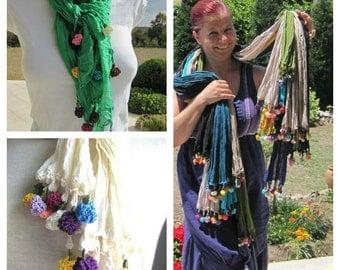 Ethnic Cotton gauze scarf-flower-crochet-woman-Turkish OYA- lace Turkey-Bohemian gypsy shabby chic-Womens scarves- Nurdanceyiz scarves2012