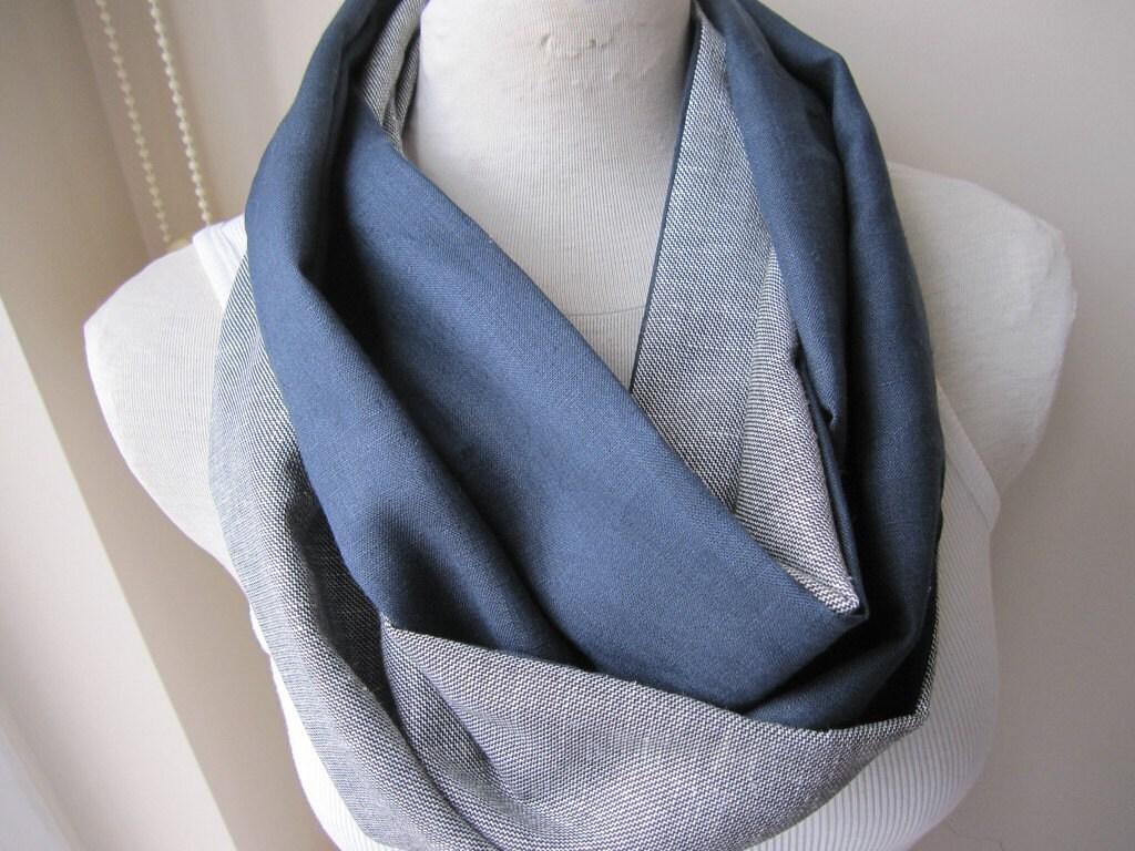 mens linen infinity scarf gray grey plaid navy linen scarf