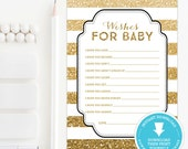 Gold & Black Baby Shower wishes for baby - Gold Baby Shower game - Gold Glitter wishes for baby printable - Gender Neutral Baby Shower