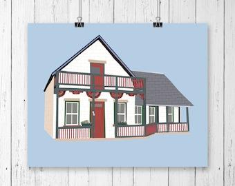 Custom home portrait, custom portrait, house warming gift, home decor, home illustration, realtor gift, house warming gift, house