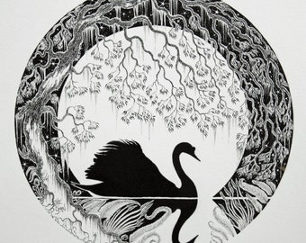 Swan Ink Illustration and swan pen drawing and swan on lake and swan silhouette and swan illustration and swan black and white ink and swan