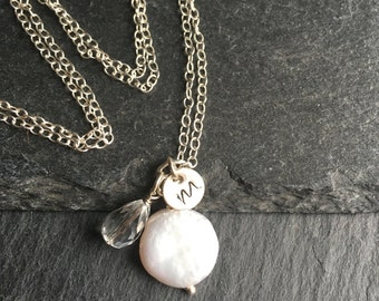 Pearl pendant necklace, cluster pendant with initial charm, dtetling silver, personalised pearl necklace, bridesmaid gift