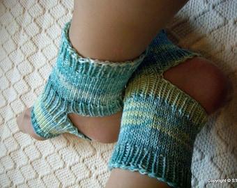 Waves -Yoga socks warmers Handknitted dance pilates spa socks women teen girl turquoise blues OOAKshades socks soft gift Handmade in Finland