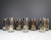 Mid Century Presidential Glasses Set // Vintage Set of Seven Glass Tumblers with Modern Polka Dot Pattern Black Gold President Portraits