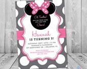 Minnie Mouse 3rd Birthday Invitation, Minnie Mouse Birthday Invitation, Minnie Mouse 3rd Birthday Invites, Printable, Any Age or Color