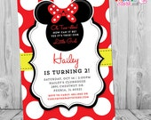 Minnie Mouse Birthday Invitations | Printable Girls Party Invitation | Red Black Yellow | Two Year Old, 2 Years, Oh Two-dles, Twodles DIY