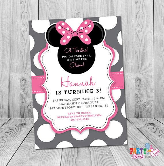 Minnie Mouse 3rd Birthday Invitation Minnie Mouse Birthday