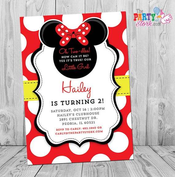 Minnie Mouse Birthday Invitations – Two Year Old Birthday Party Invitations