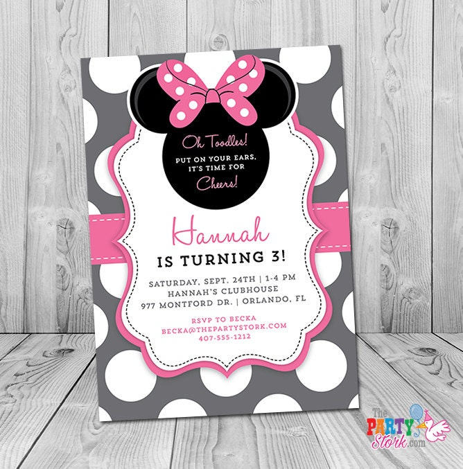 Minnie mouse 3rd birthday invitation wording filmwisefo