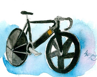 ACEO Limited Edition 2/25 - Bike of dream, Art print of ACEO original watercolor painting by Ssen, Bicycle painting, Gift idea for boys