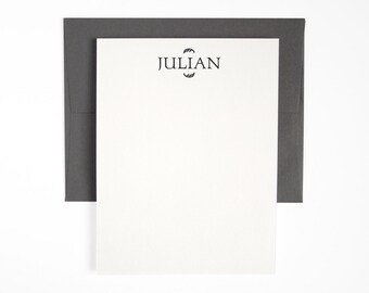 Letterpress Flat Stationery Set - Modern Note Cards - Dark Gray Forum