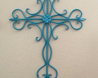 Decorative Cross / Metal Wall Cross / Cross Decor /Wall Decor Turquoise Blue /Metal Wall Decor / Home Decor / Inspirational