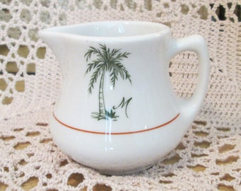 "Vintage Jackson China Restaurant Ware Creamer with Palm Tree and ""M"""
